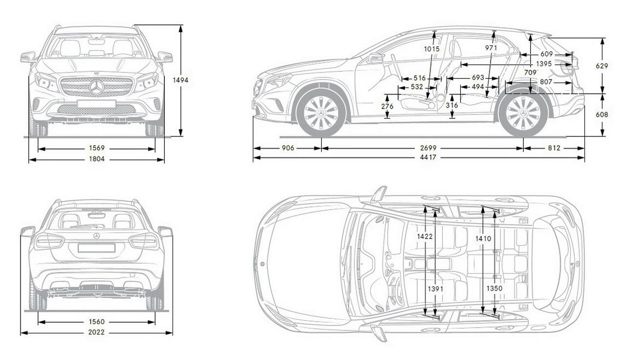 Размеры Mercedes-Benz GLA X156