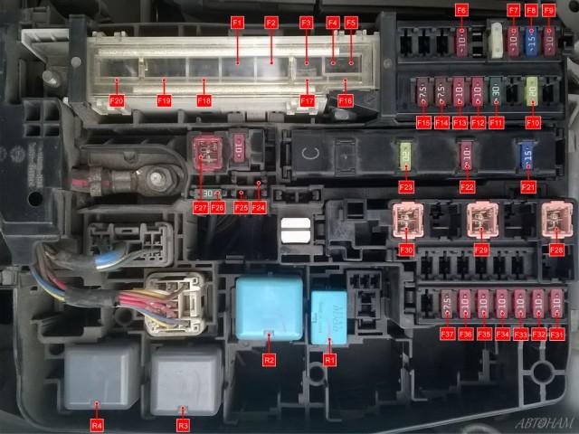 Схема блока предохранителей в моторном отсеке Тойота Королла 150